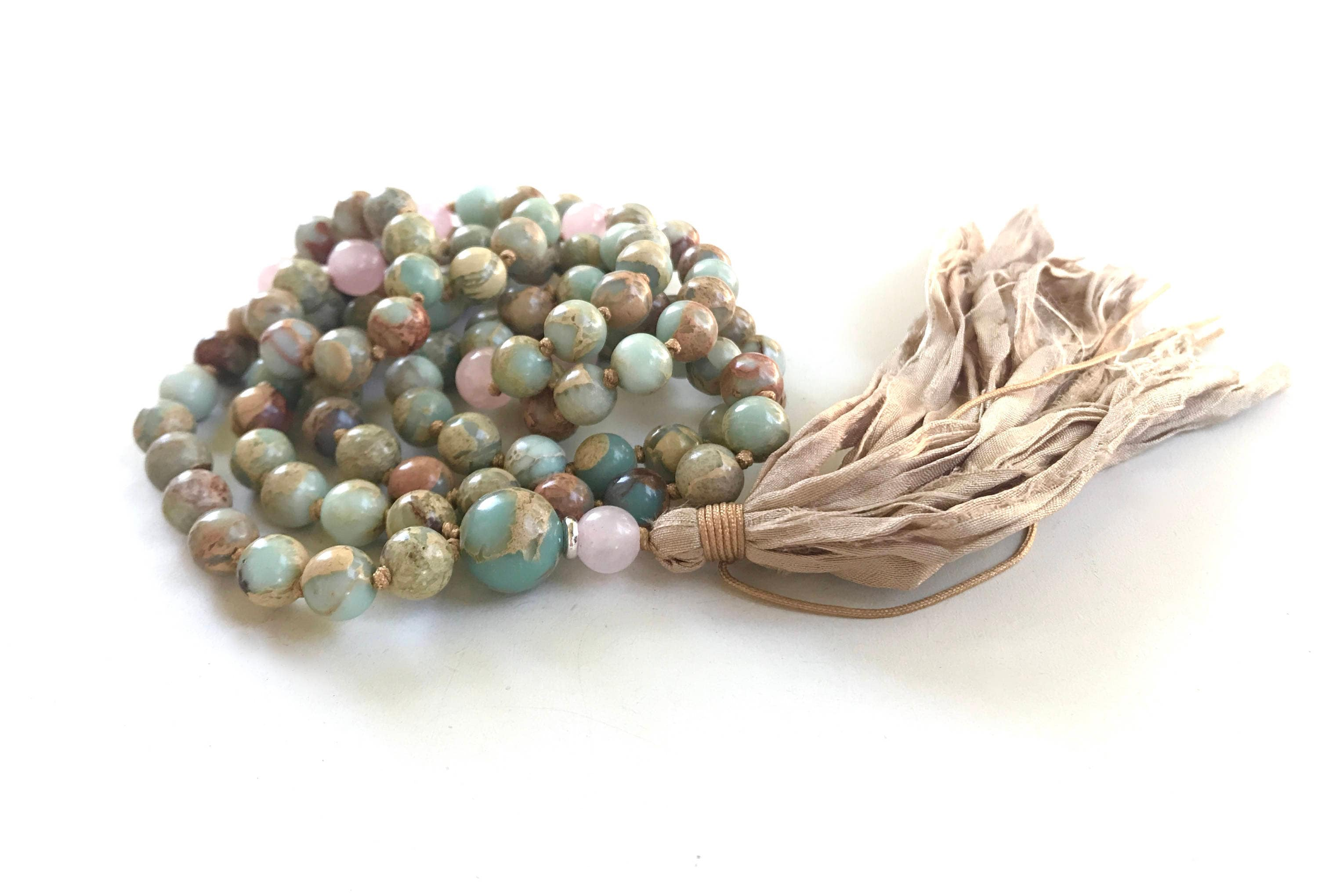 African Opal & Rose Quartz Mala Beads, Mala For Chakra Cleansing