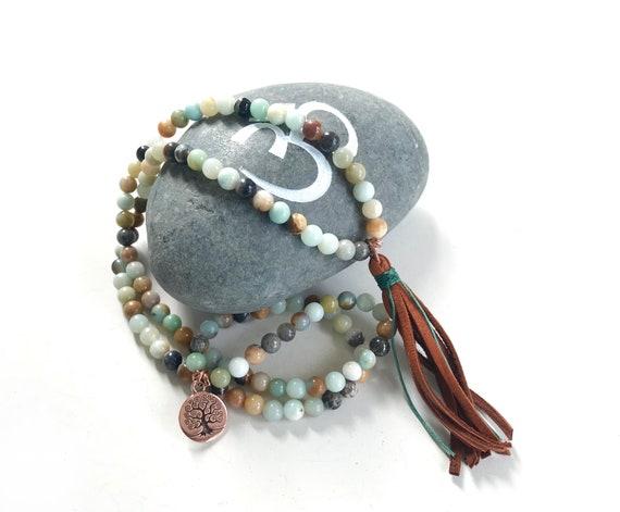 Amazonite Stretch Mala Bracelet, Leather Tassel, Mala Bead Wrap Bracelet, Wrap Mala,  108 Bead Mala, Wrap Mala Beads