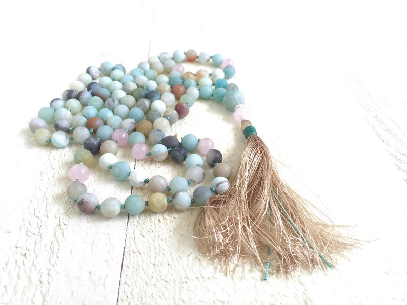 MALA FOR CALMING  Amazonite Mala Beads  108 Bead Mala  Rose Beige Silk Thread