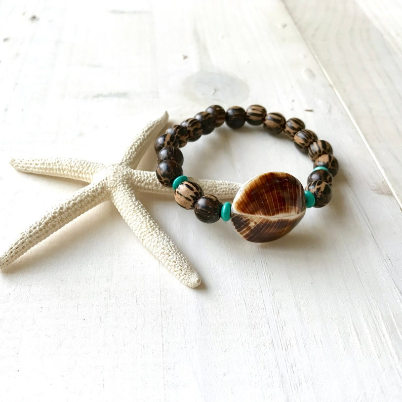 Wood Bead Beach Jewelry Casual Shell Bracelet Palmwood Stretch Bracelet Bohemian Style Bracelet Kaccoi Shell Bracelet