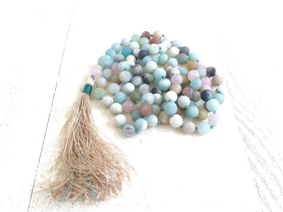 CALMING MALA BEADS - Amazonite and Rose Quartz Mala Necklace - 108 Bead Mala - Hand Knotted - Mala For Meditation Practice - Yoga Beads