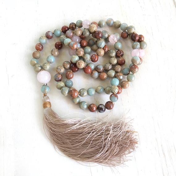 African Opal Knotted Mala Beads, Tassel Mala Necklace, Rose Quartz Mala Beads, Long Tassel Necklace, Yoga Meditation Beads