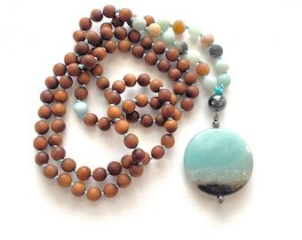 Positive Vibrations Mala - Sandalwood Mala Beads - Amazonite - Hematite Mala Necklace - Mala Beads 108 - Japa Mala - Mala For Meditation