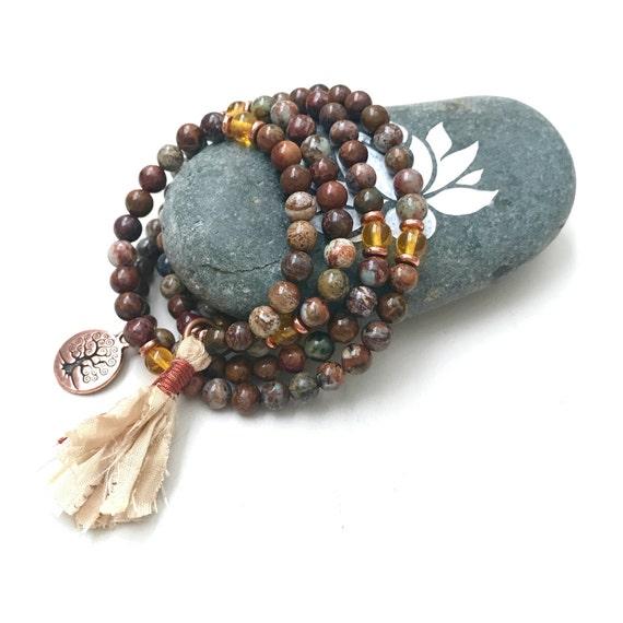 Stretch Mala Beads, Brown & Green African Opal Mala Beads, Citrine Mala, 108 Bead Mala On Stretch Cord, Mala To Wrap Around Wrist, Yoga Mala