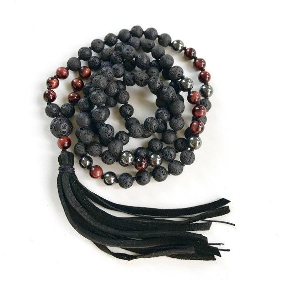 Mala For The Root Chakra, Black Lava Mala Beads, Red Tiger Eye Hematite Mala, Leather Tassel Mala Beads, Unisex Mala, Grounding Mala Beads