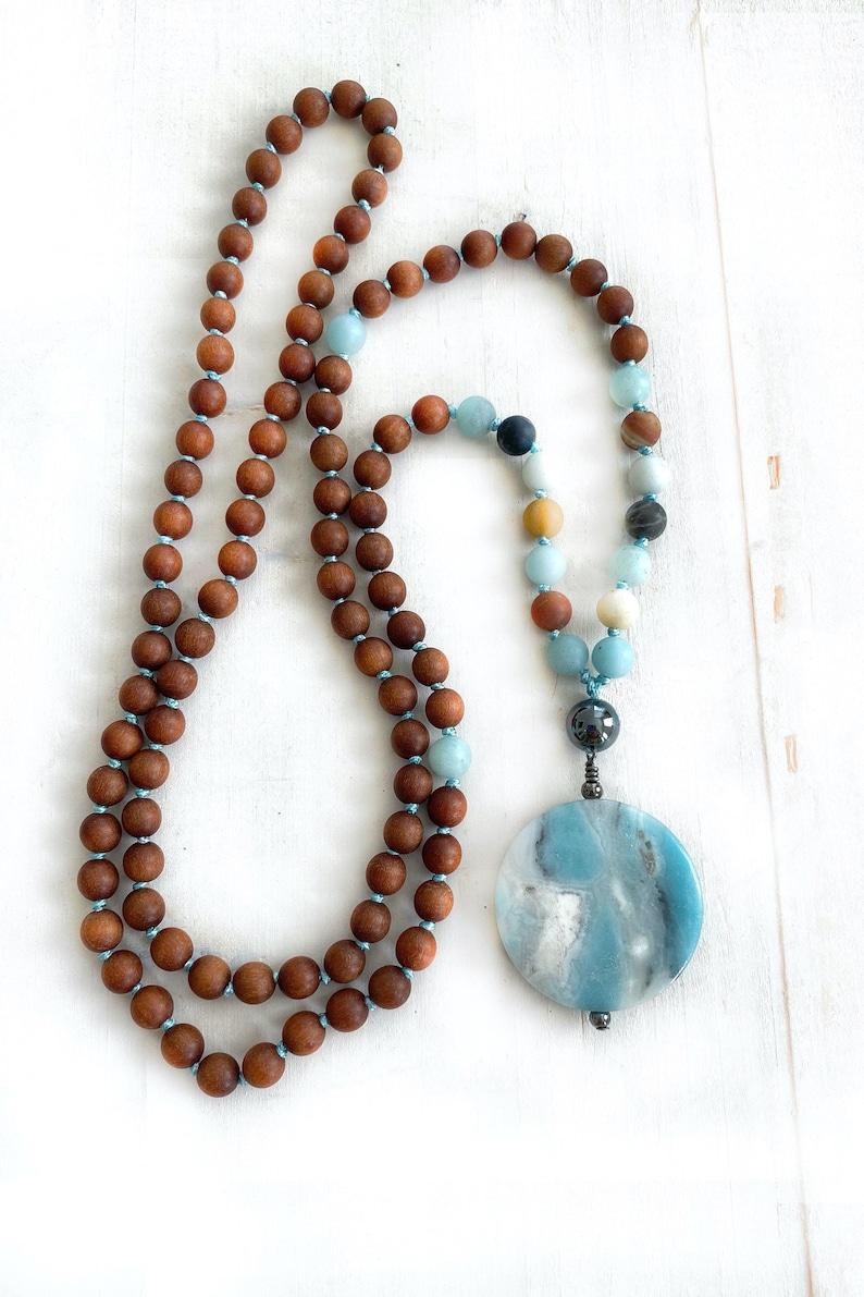 Positive Vibrations Mala  Sandalwood Mala Beads  Amazonite  image 0