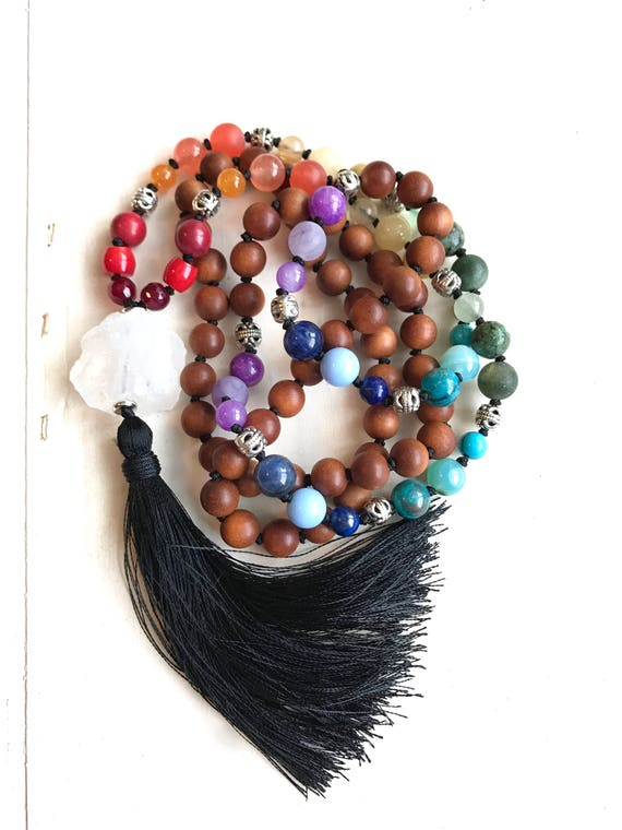 BALANCE THE CHAKRAS Mala Beads - Sandalwood & Mixed Stones Mala Necklace -  Natural Healing Mala - Meditation Mala Beads - Yoga Mantra