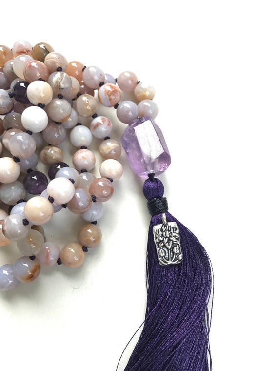 Lotus Flower Pendant, Lotus Flower Charm, Mala Bead Charm, Tassel Jewelry Charm, Yoga Charm, Customize Your Mala Beads