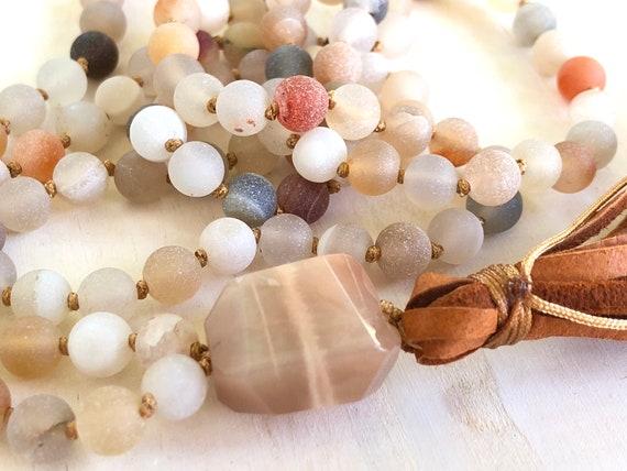 ENJOYMENT OF LIFE - Mala Beads - Druzy Agate Mala Necklace - Choose Your Tassel - 108 Beads Mala - Mala To Cleanse The Chakras - Yoga Beads