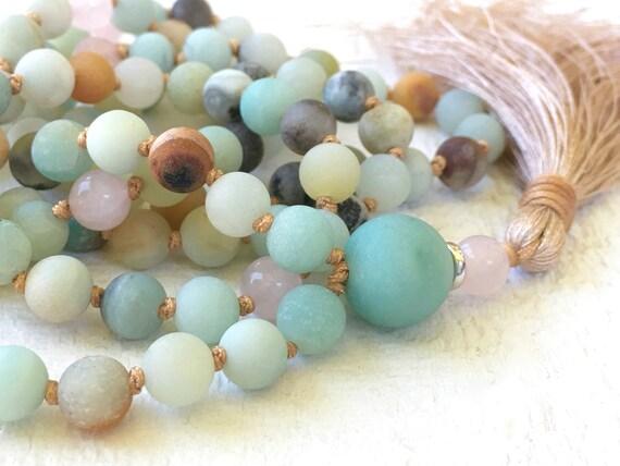 MALA FOR CONFIDENCE - Amazonite Mala Beads - Stone Mala Necklace - 108 Bead Mala - Mala Meditation Beads - Prayer Beads