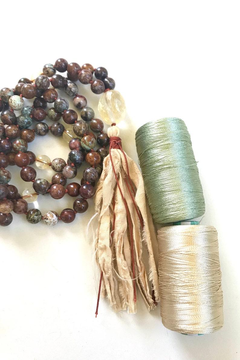 108 Bead Mala With Sari Silk Tassel AFRICAN OPAL MALA Citrine Mala Bead Necklace Unique Mala Beads Japa Mala Necklace