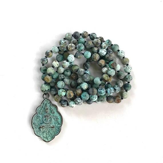 POSTIVE CHANGE - Mala Beads - African Turquoise Mala Necklace - 108 Bead Knotted Mala - Buddha Mala - Yoga Meditation Beads - Yoga Jewelry