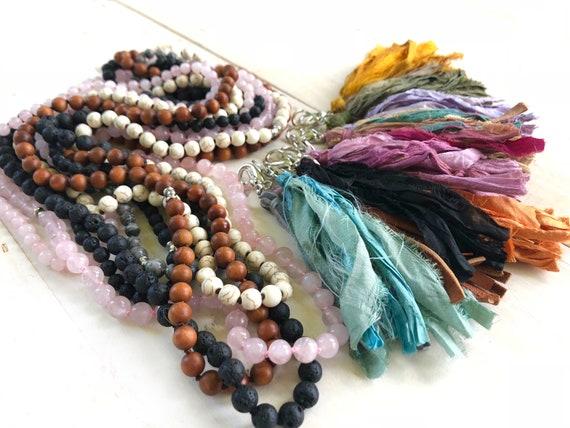 Mala Beads With Interchangeable Tassel - 108 Bead Mala Necklace - Pick Your Own Tassel - Mala Prayer Beads - Mantra Mala Necklace