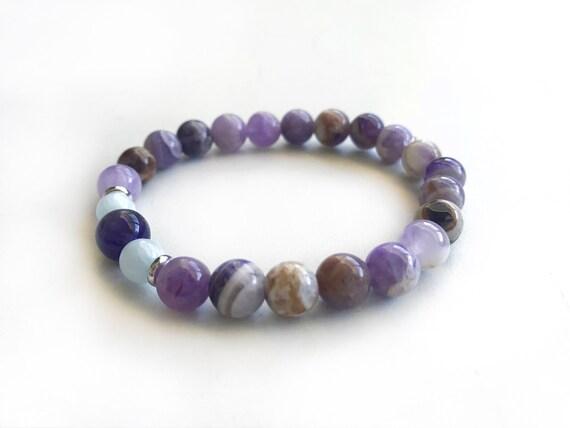 Flower Amethyst Amp Aquamarine Stretch Bracelet Match Your
