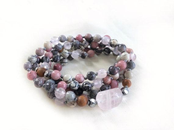 OPEN THE HEART - Mala Beads - Connect With Mother Earth - Rhodonite, Porcelain Jasper, Rose Quartz Mala - Removable Tassel - Wrap Mala