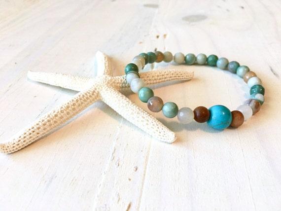 Turquoise Stretch Mala Bracelet, Bohemian Bracelet, Sandalwood And Howlite Jewelry, Matching Your Mala Bracelet