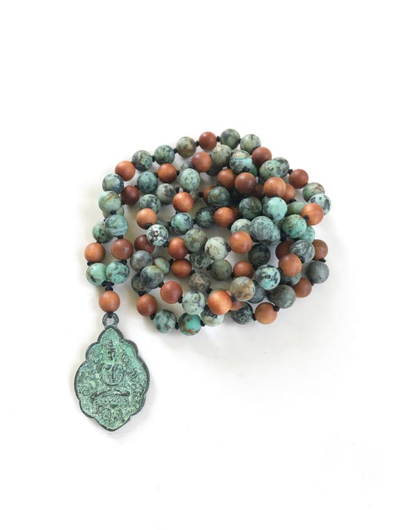 African Tuquoise Mala Beads, Buddha Pendant Mala Necklace, Knotted 108 Bead Mala, Buddha Necklace, Yoga Meditation Beads, Yoga Jewelry