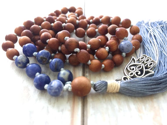 Self Acceptance Mala, Sandalwood Mala Beads, Sodalite Mala, Handmade Silk Tassel Mala Necklace, 108 Bead Mala, Yoga Meditation Beads