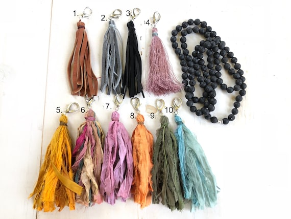 Removable Tassel - Sari Silk Tassels - Leather Tassels - Silk Thread Tassels - Mala Bead Tassel Necklace - Yoga Jewelry