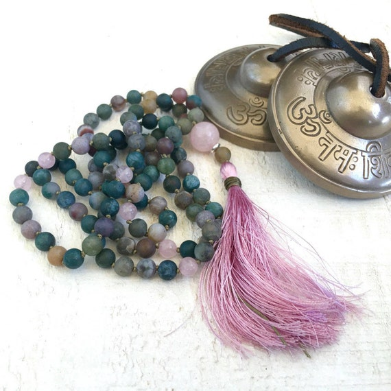 Indian Agate Mala Beads, Protection Mala Necklace, 108 Mala Beads Hand Knotted, Rose Quartz and Silk Tassel, Handmade Meditation Beads