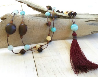 Bohemian Style Natural Tassel Necklace, Gemstone And Seed Knotted Necklace, Long Boho Chic Tassel Necklace, Boutique Fashion Jewelry