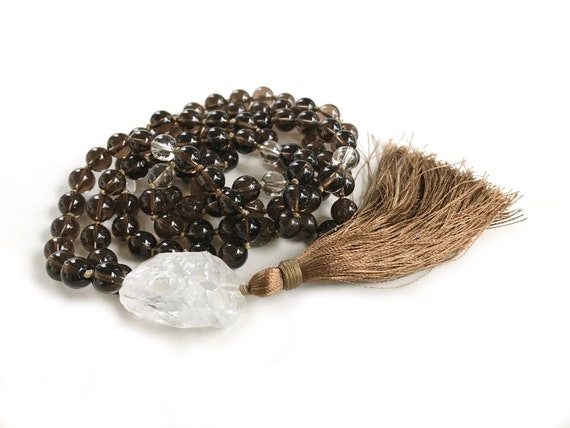Mala To Overcome Negative Emotions, Smokey Quartz Mala Beads, Mala Necklace For Inner Strength, 108 Bead Mala, Hand Knotted Silk Tassel Mala