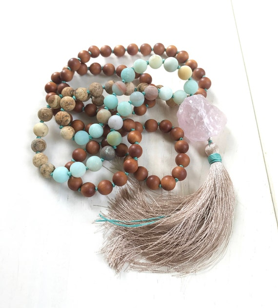 Mala Beads For Inner Peace, Amazonite Rose Quartz Mala Necklace, Green Aventurine Sandalwood, Knotted Japa Mala, 108 Beaded Mala, Yoga Gifts