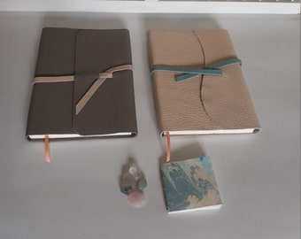 Handmade A6 writing book pastel shade Salmon pink or light grey - leather writing book various colors - hand-tied blank notebook