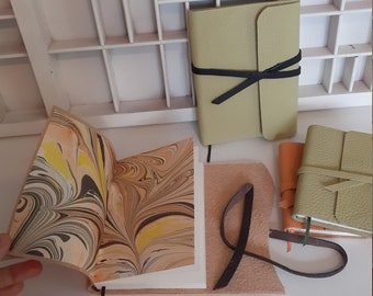 Handmade writing book with marble paper - green or orange - A7 or A6 - leather writing book - hand bound blank notebook