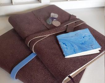 Handmade A6 writing book purple crackle leather and marble bracts - leather writing book purple or purple /blue - hand-tied notebook