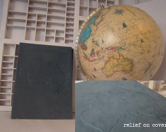 Australia travel journal handmade - Writing book A4 (blank) - Hardcover notebook blue Australia relief - travel diary Australia