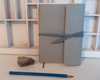 Handmade A6 writing book pastel grey blue - leather writing book handmade - hand-tied blank notebook