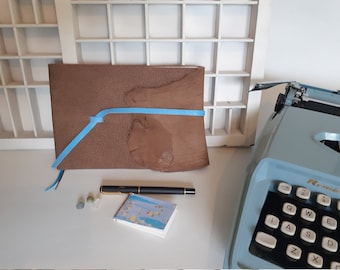 Nubuck writing book A5 - blank notebook with marbled flyleaves - luxury drawing book - unique and hand-tied