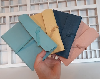 Handmade A6 notebook various pastel tones - leather writing book various colors - hand-tied blank notebook