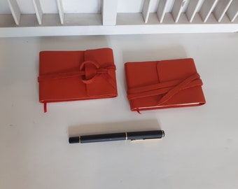 Hand-tied mini notebook - red leather - blank booklet - handmade - diary - butterfly paper