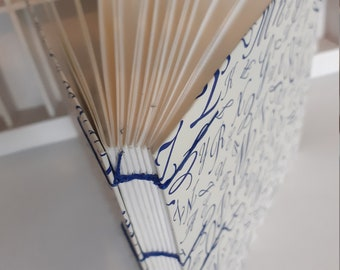 Coptic bound notebook square with blue letters - diary - drawing book - hand-bound notebook