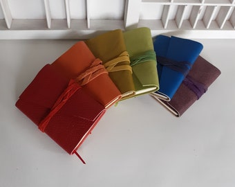 Rainbow SET notebooks leather - A7 blank booklets - RAINBOW - small notebooks leather - notebooks with leather cover
