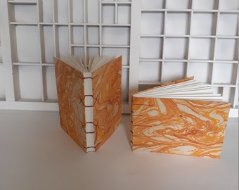 Coptic bound writing book A6 standing or lying down - orange notebook - diary - hand-bound writing book drawing book