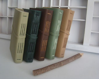 A6 blank writing book NATURE colors - tied in the back - leather cover - handmade notebooks in multiple colors
