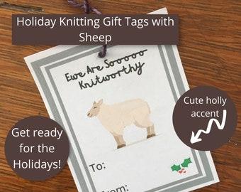 Holiday Knitting Gift Tags with Sheep   Ewe Are Sooooo Knitworthy