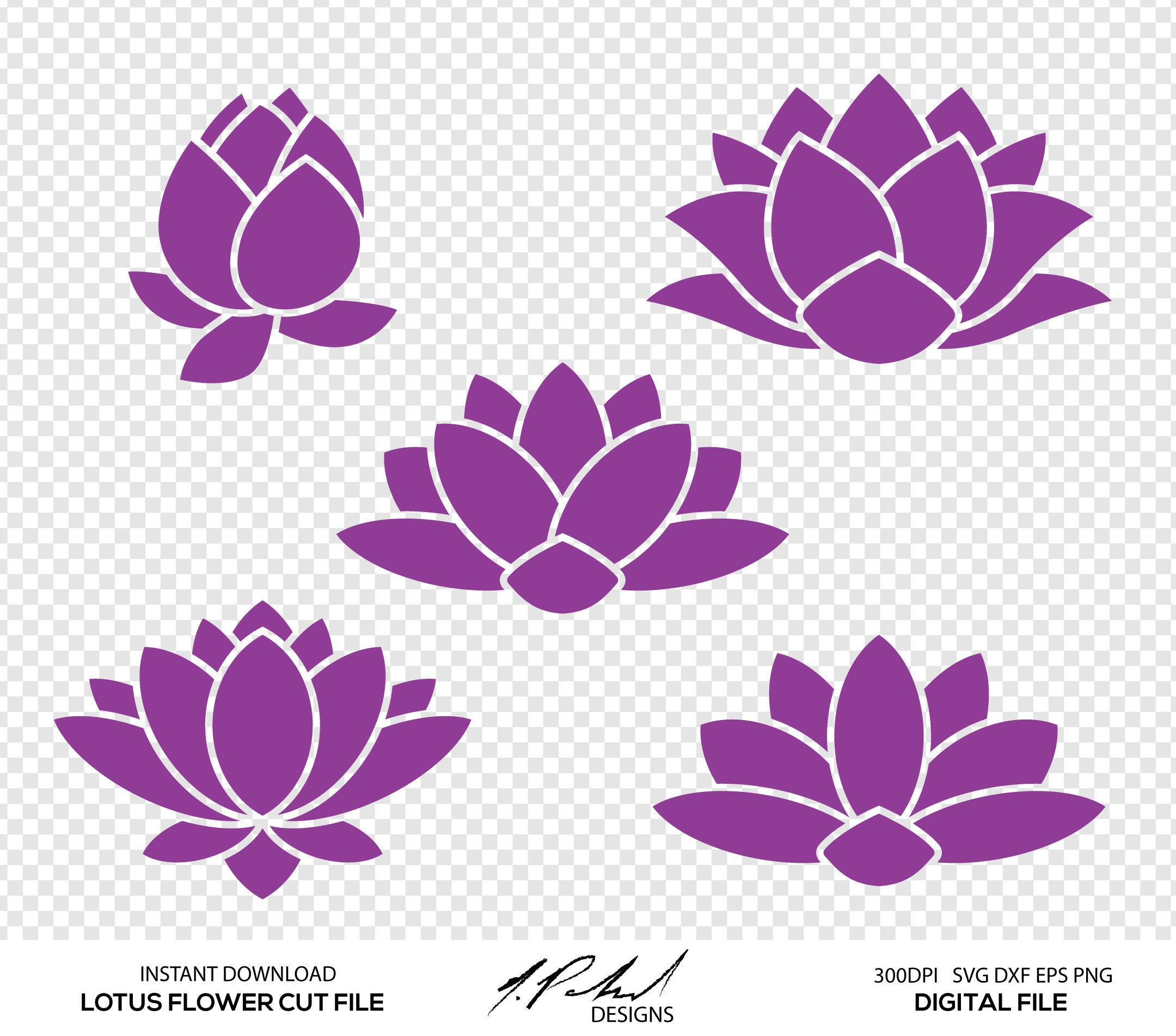 Lotus flower digital cut files digital files lotus flower etsy 50 izmirmasajfo