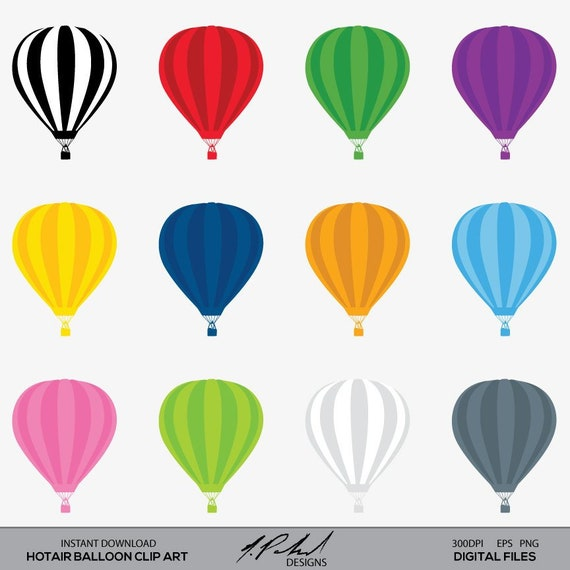 Hot Air Balloon Digital Clip Art Digital File Hot Air Balloon