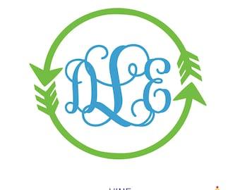 Arrow Monogram Decal | Yeti Monogram | Monogram Yeti Decal | Car Monogram Decal | Custom Stickers | Decal for Yeti | Boho Decal | DECAL ONLY