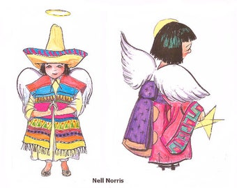 Set of four little downloadable pictures, ANGELS, Native American, Oriental, Mexican, Anglo