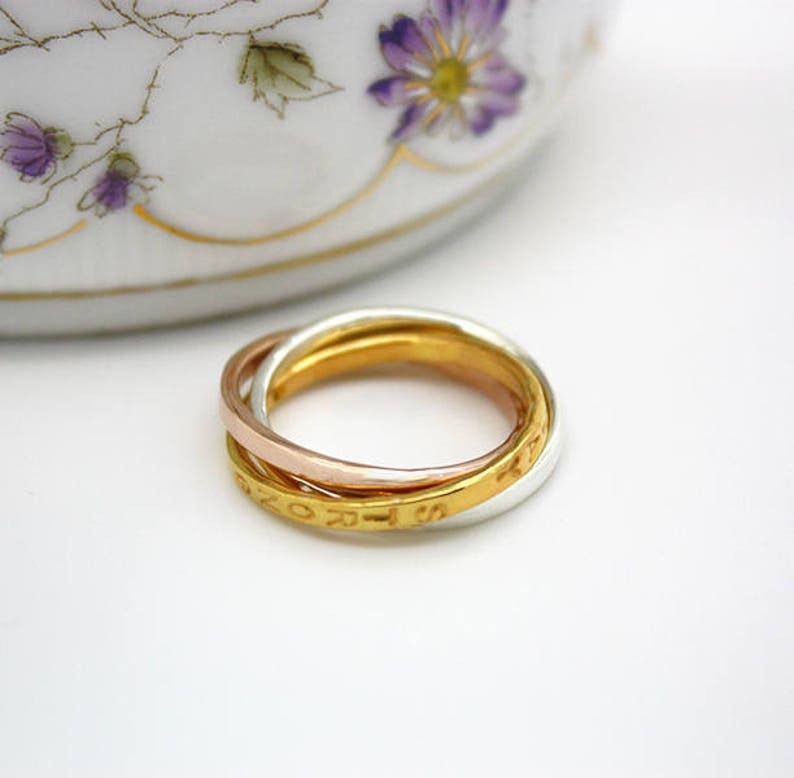Interlinked three rings Promise ring Sterling silver Personalized Tricolor Russian Ring Eternity ring Rose gold plated Gold plated