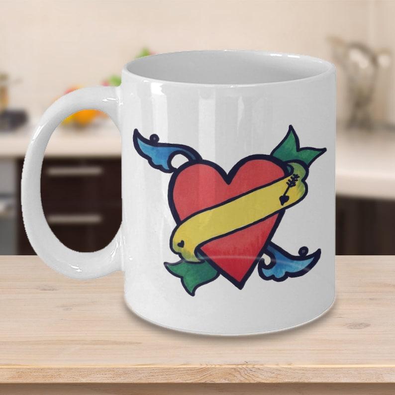12429bf0a Love heart mug add your name small coffee mug / Boyfriend mug | Etsy