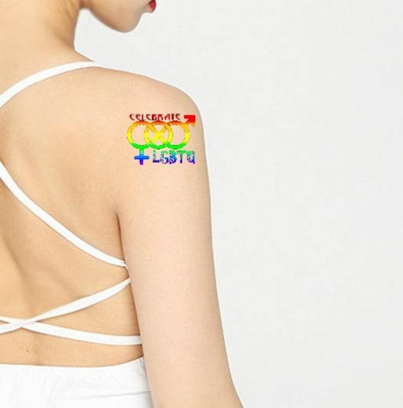 Duma Miesiąc Biseksualny 2 Tymczasowy Tatuaż Lgbtqa Tęcza Tatuaż świętować