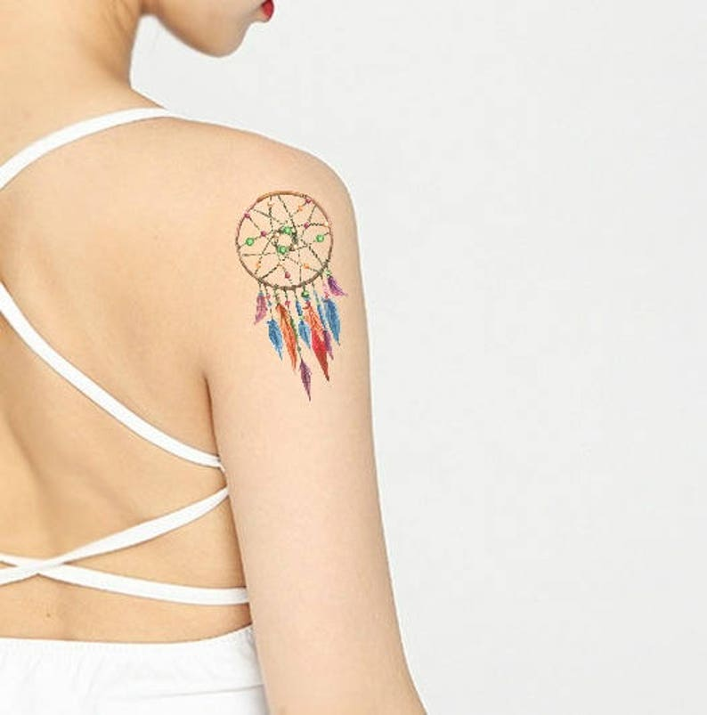e2465eb2f5cd6 Dream Catcher Temporary Tattoo Design With Feathers Boho Etsy