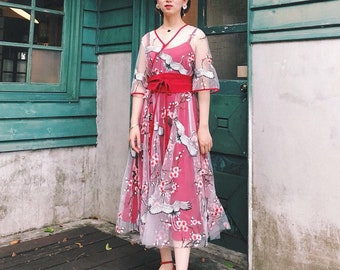 Set3: Lost in Kyoto Collection red/black crane floral embroidery transparent out layer dress+inner dress+sash