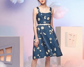 Neverland Collection blue white Dandelion's advanture embroidery jean dress